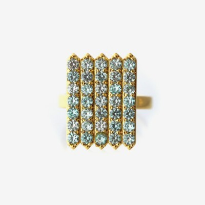 Birthstone Pavé Cocktail Ring - Aquamarine