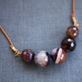 Leather Agate Necklace - Shades of Violet